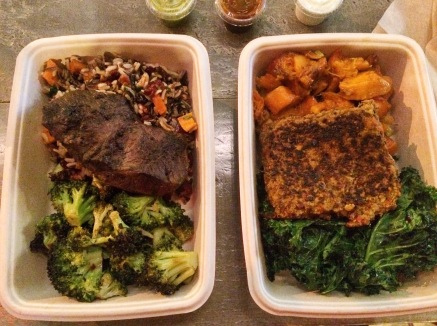 Steak, broccoli, and wild rice for him. Kale salad, salmon, and sweet potatoes for me.